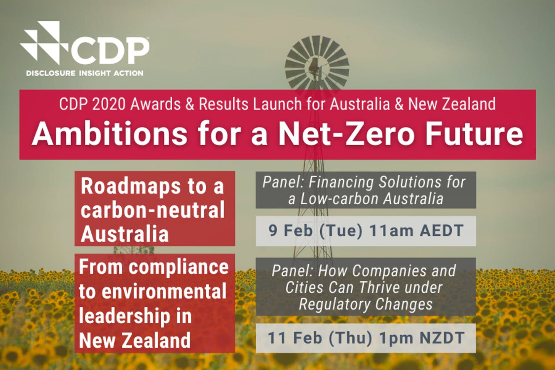 [Webinars] Ambitions for a Net-zero Future | 9 & 11 Feb | CDP Annual Launch in Australia & New Zealand