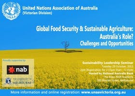 Global Food Security and Sustainable Agriculture: Australia's Role? Challenges and Opportunities