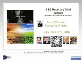 Environmental Social Governance Reporting 2016 - complying with the HKEx requirements