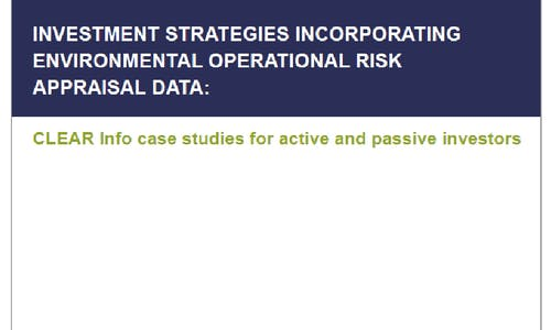 CLEAR Info: Investment strategies incorporating environmental operational risk appraisal data