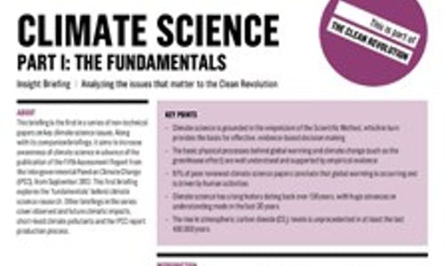 IPCC special insight briefing and Climate science five-part series