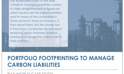 Portfolio footprinting to manage carbon liabilities: Pax World case study