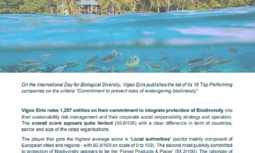 New Vigeo Eiris report l Protection of biodiversity: Companies need to take action as scores remain quite limited