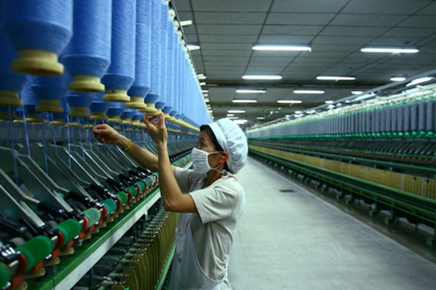 A worker in a textile factory in China.