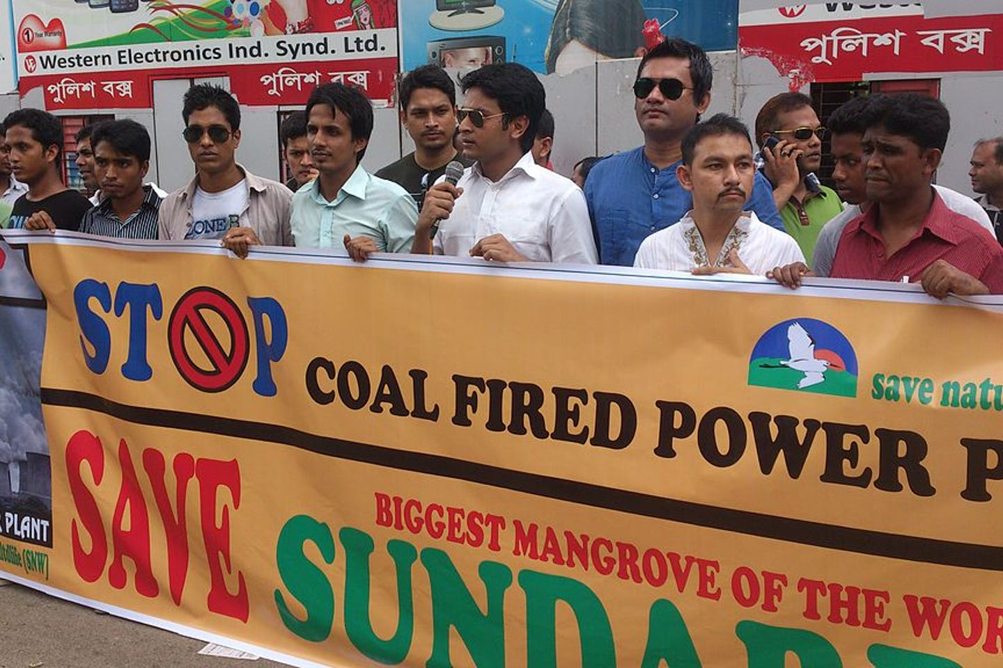 Activists protest against coal-based power plants in Bangladesh