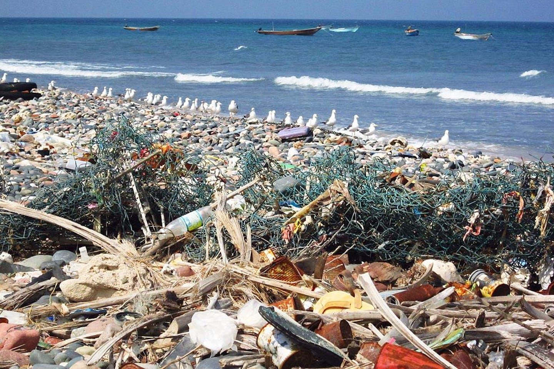Plastic trash in a beach in Yemen, Middle East