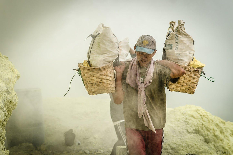 Miners in Jawa Timur Indonesia.