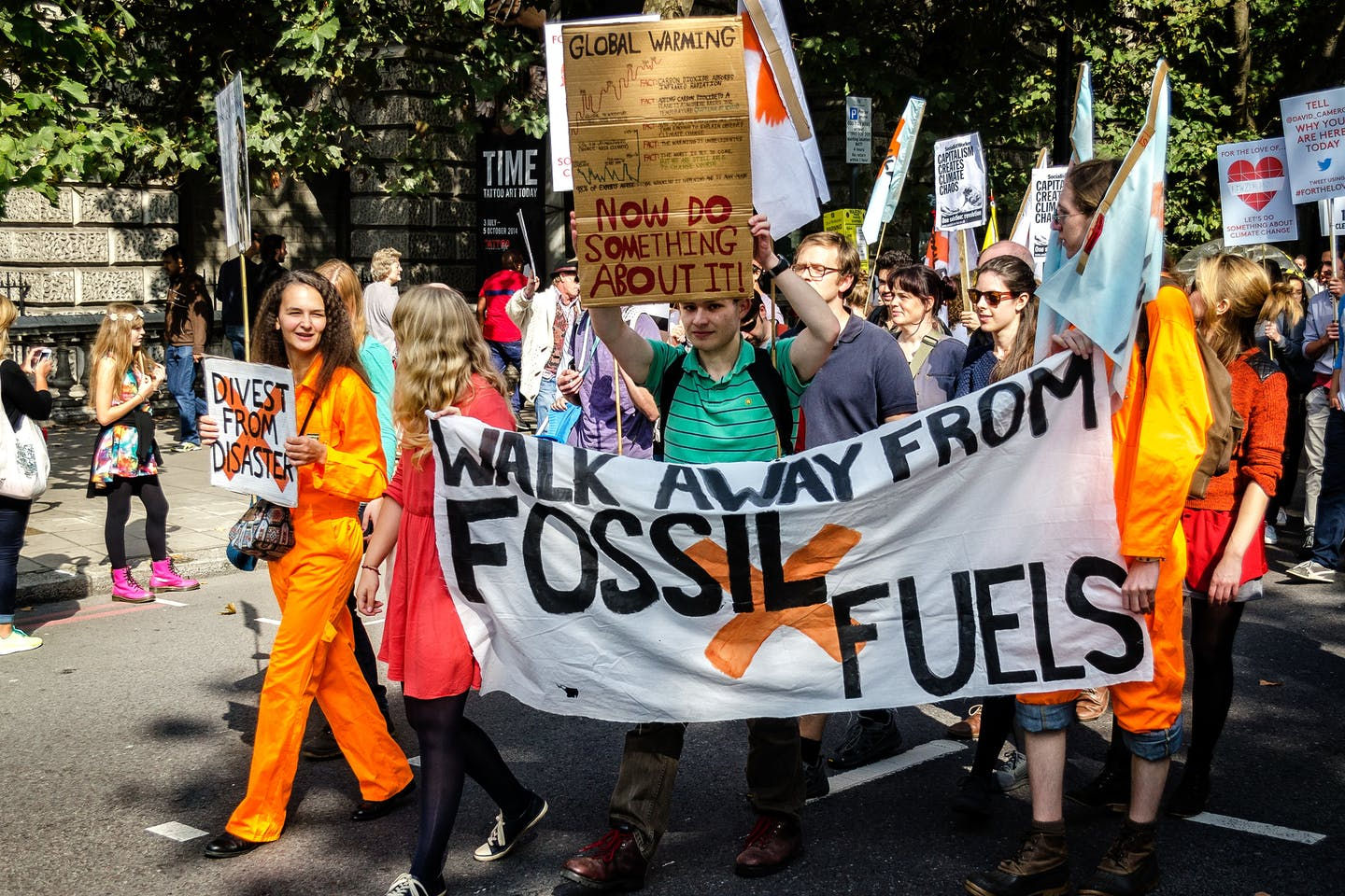 climate march walk away from fossil fuels