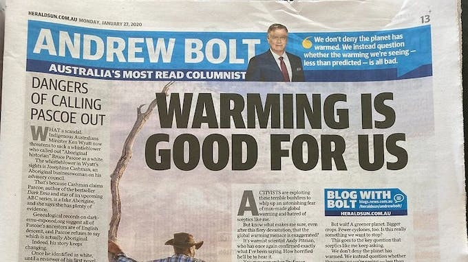 Opinion piece by Andrew Bolt in the Herald Sun