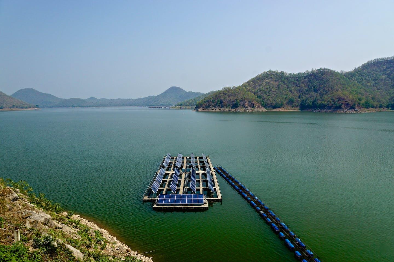 Floating solar panels on Srinakarin lake, Thailand.