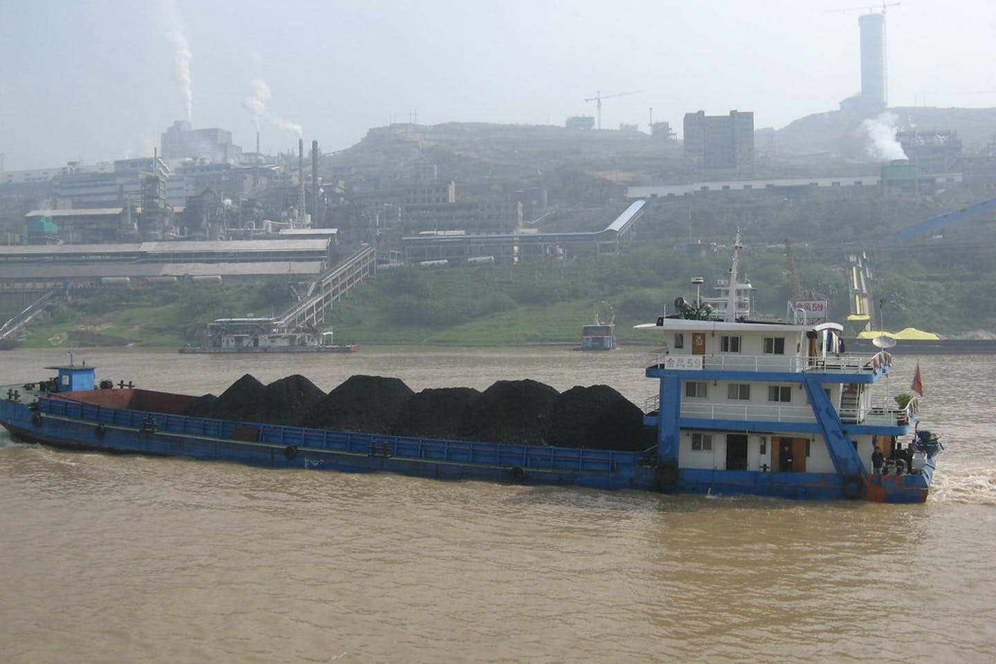 Coal being transported on the Yangtze River in China