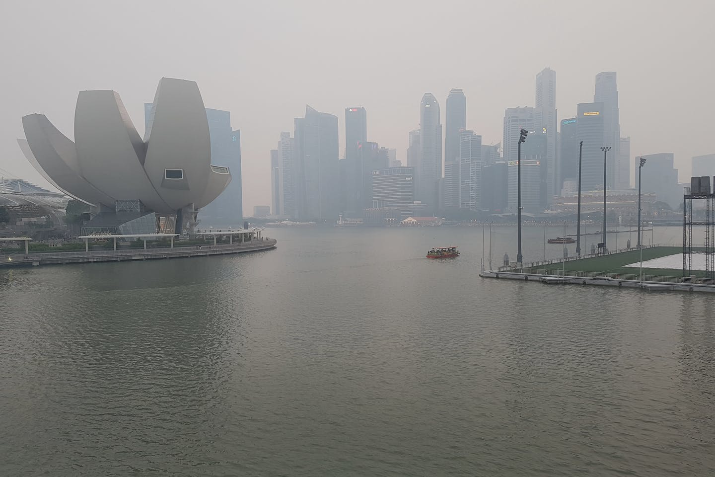 Haze over Singapore's skyline, September 2019
