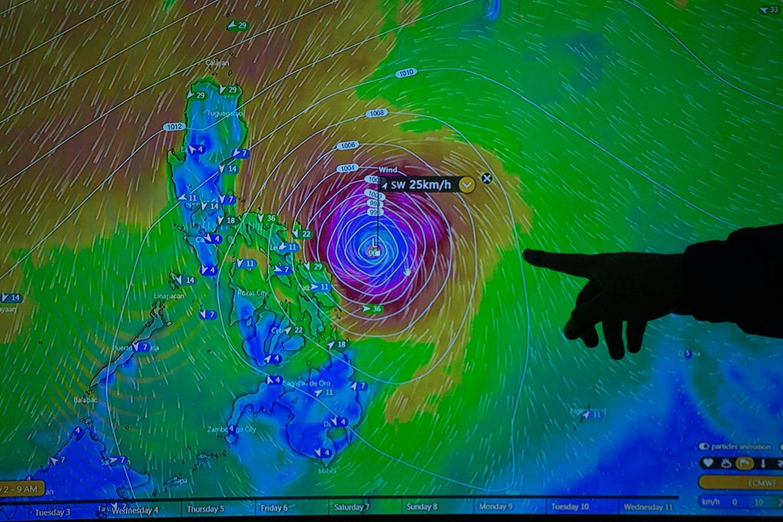 track of Typhoon Kammuri on a TV screen
