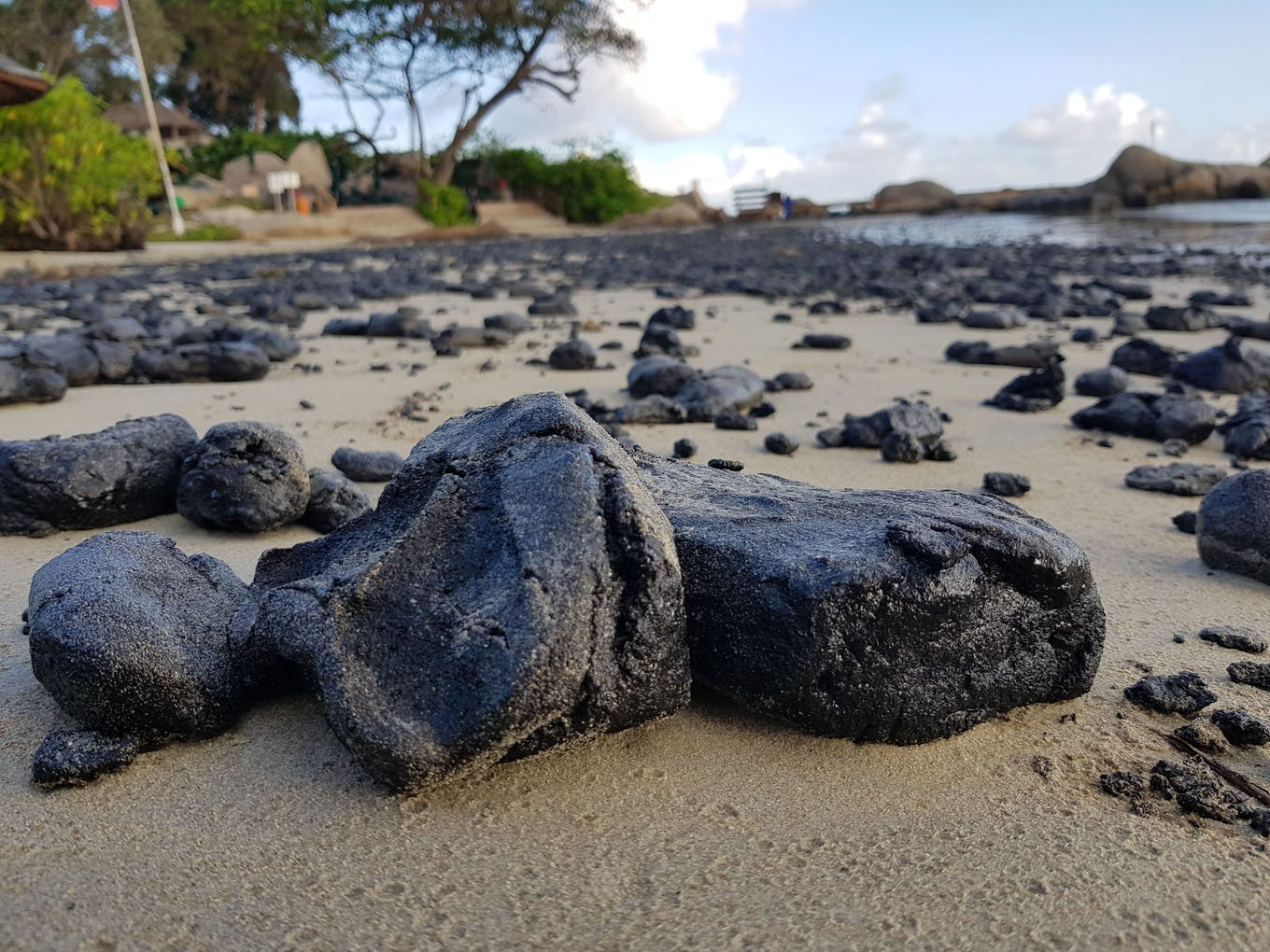 Oil clumps on a beach in the resort island of Bintan, Indonesia, near Singapore.