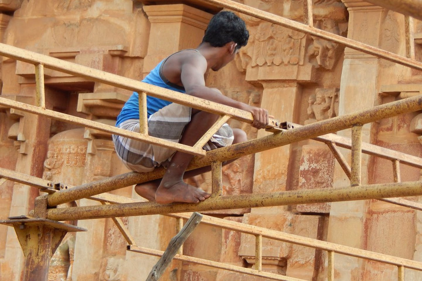 Construction worker in India