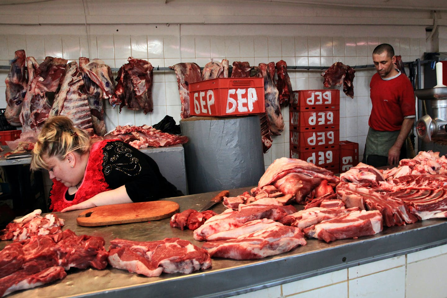 Butcher's shop in Europpe