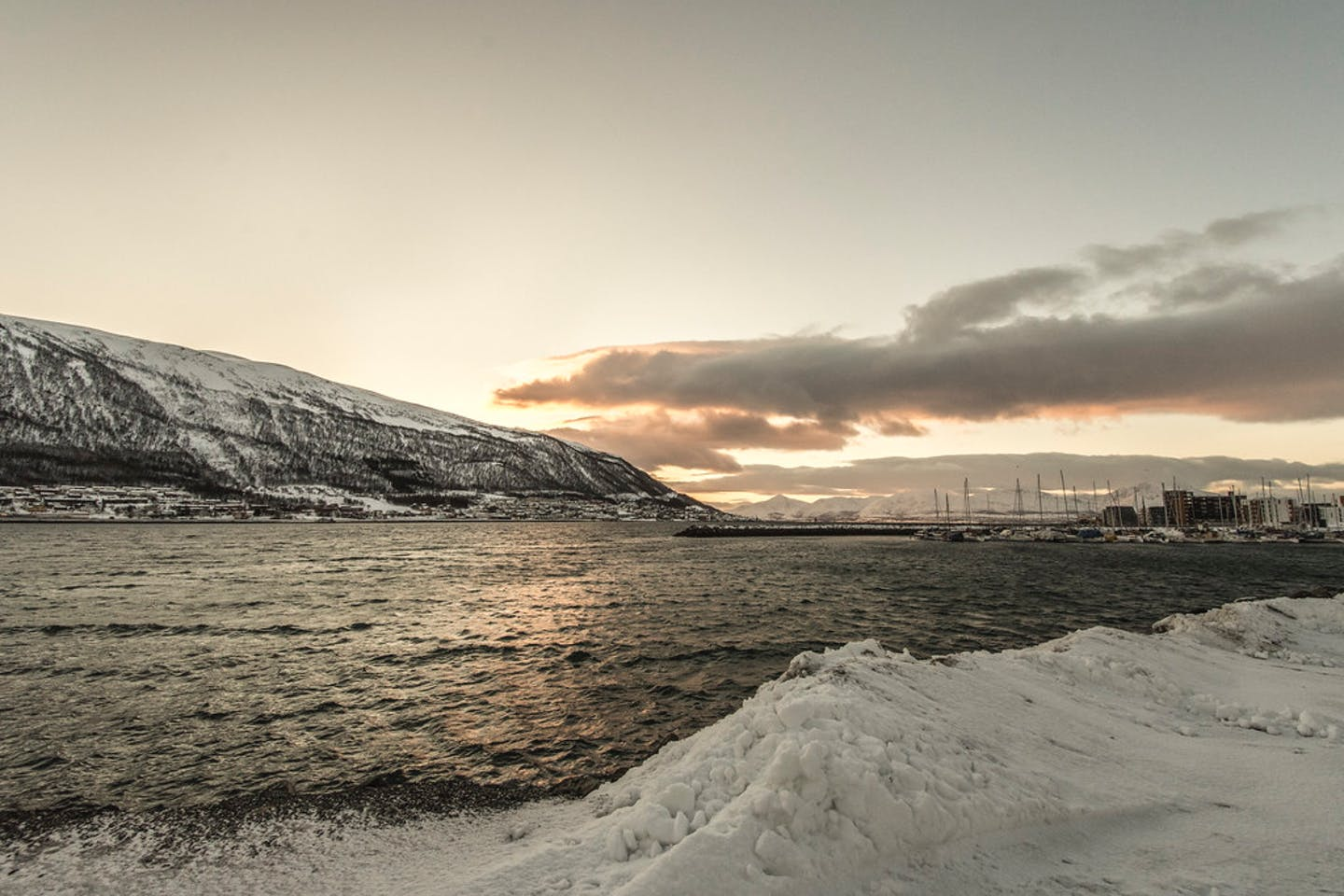 The Arctic sea as seen from Troms, a former county in Norway