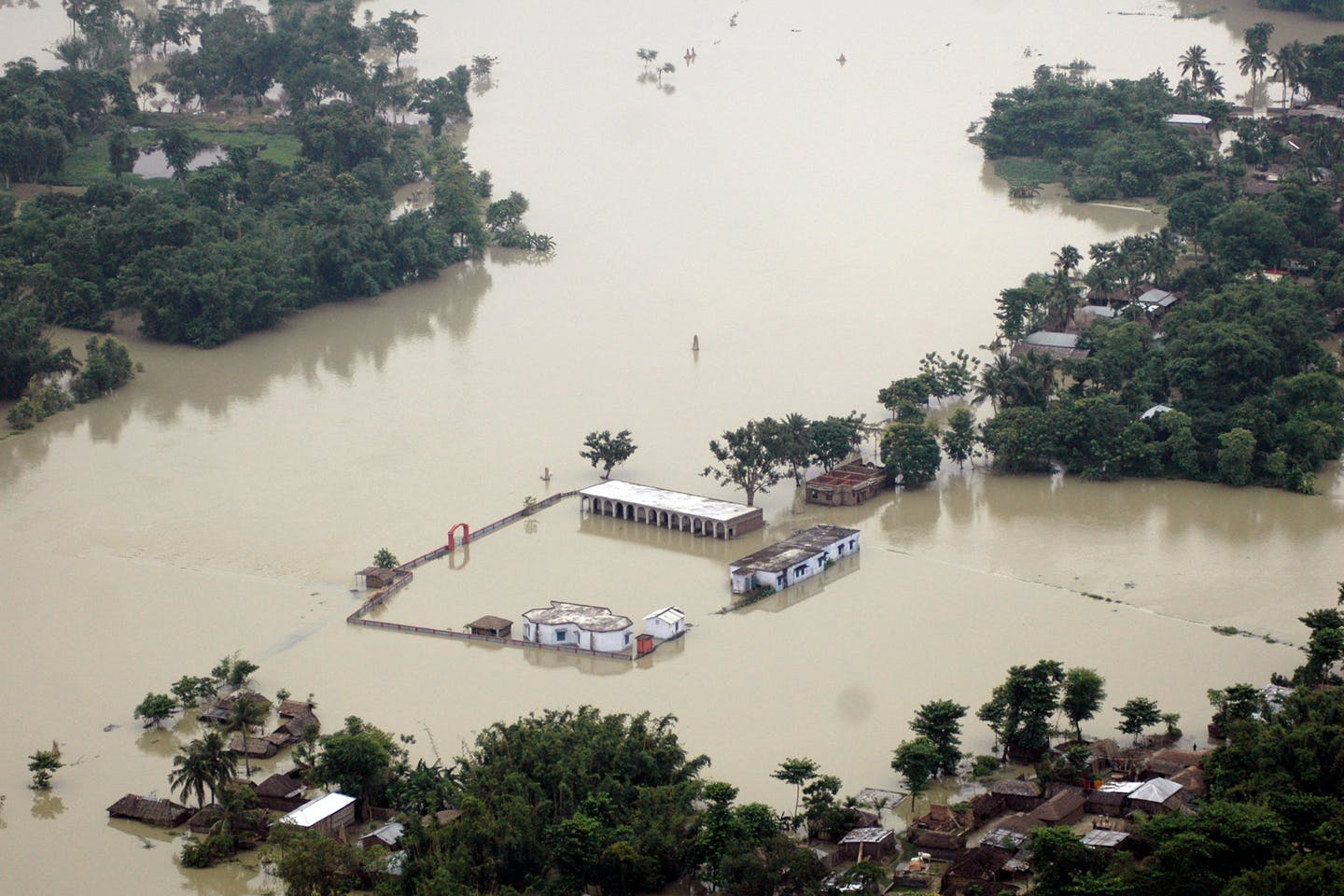 An aerial view of flood affected areas in Bihar