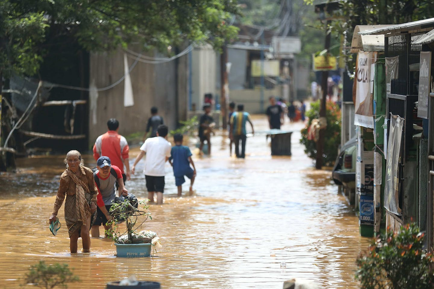 Floods in Bandung in West Java, Indonesia.