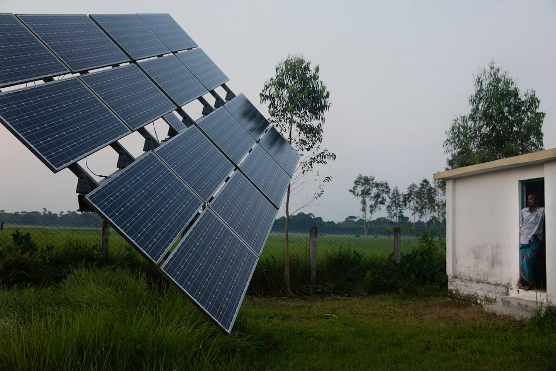 Solar panels in a rural area in Rohertek, Bangladesh