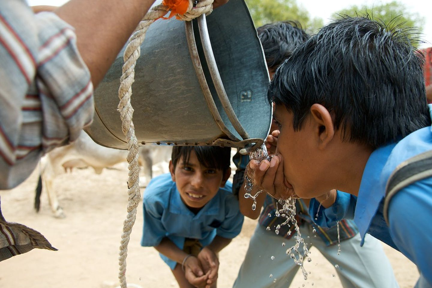 school boys in India drink water from bucket