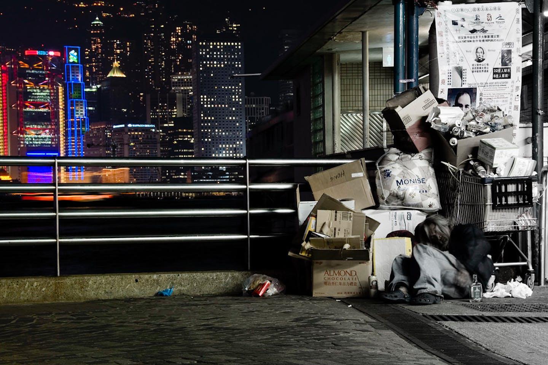 homeless man in Tsim Sha Tsui, Hong Kong