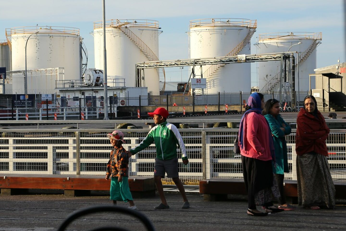 Oil storage tanks at the Wynyard Quarter in Auckland, New Zealand