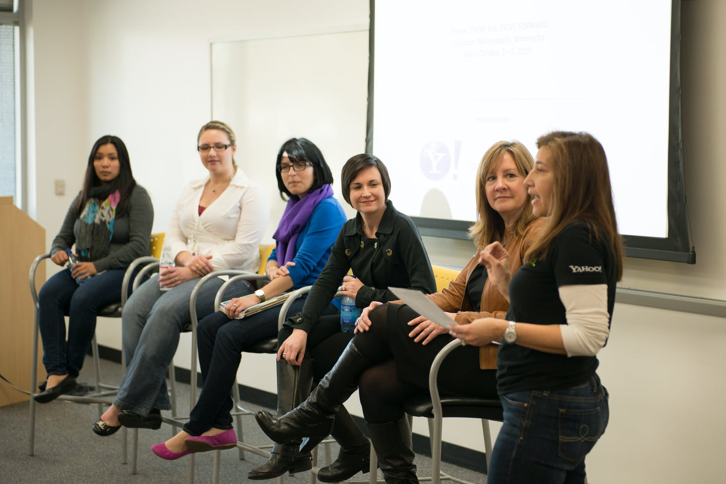 Women on a panel on women in tech