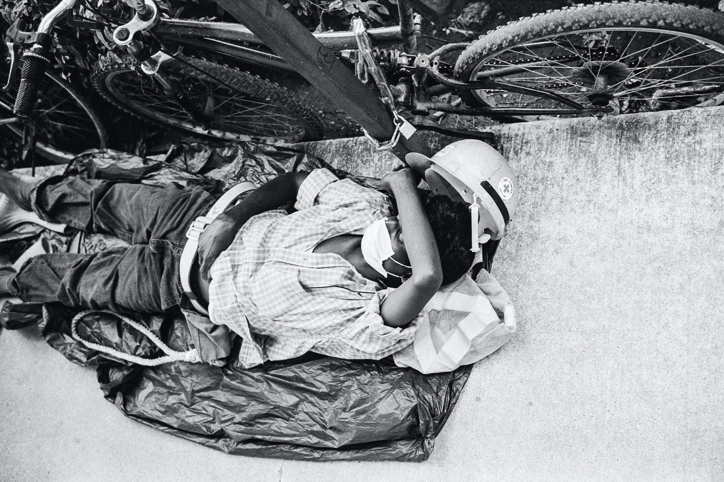 construction worker resting