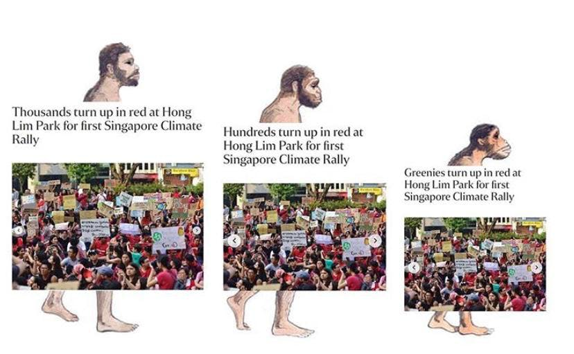 Thousands, no hundreds, no just greenies turned out to support SG Climate Rally