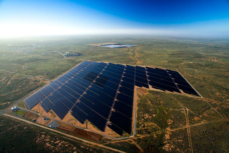 aerial shot of broken hill solar plant