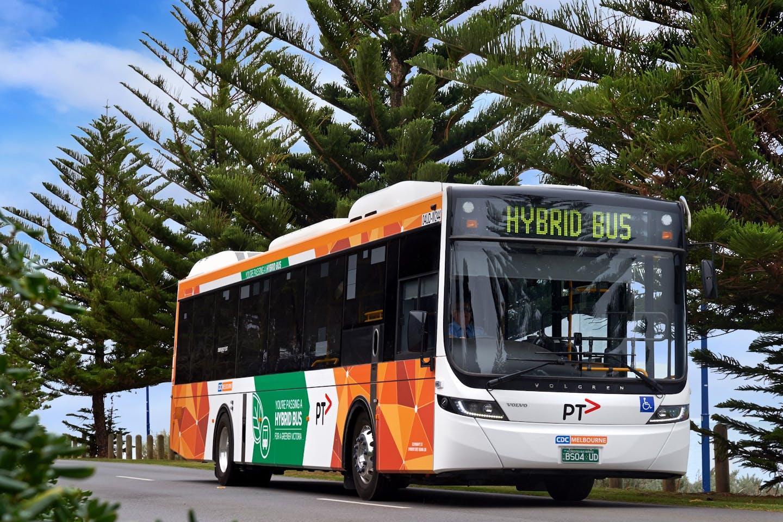 A hybrid bus in Melbourne