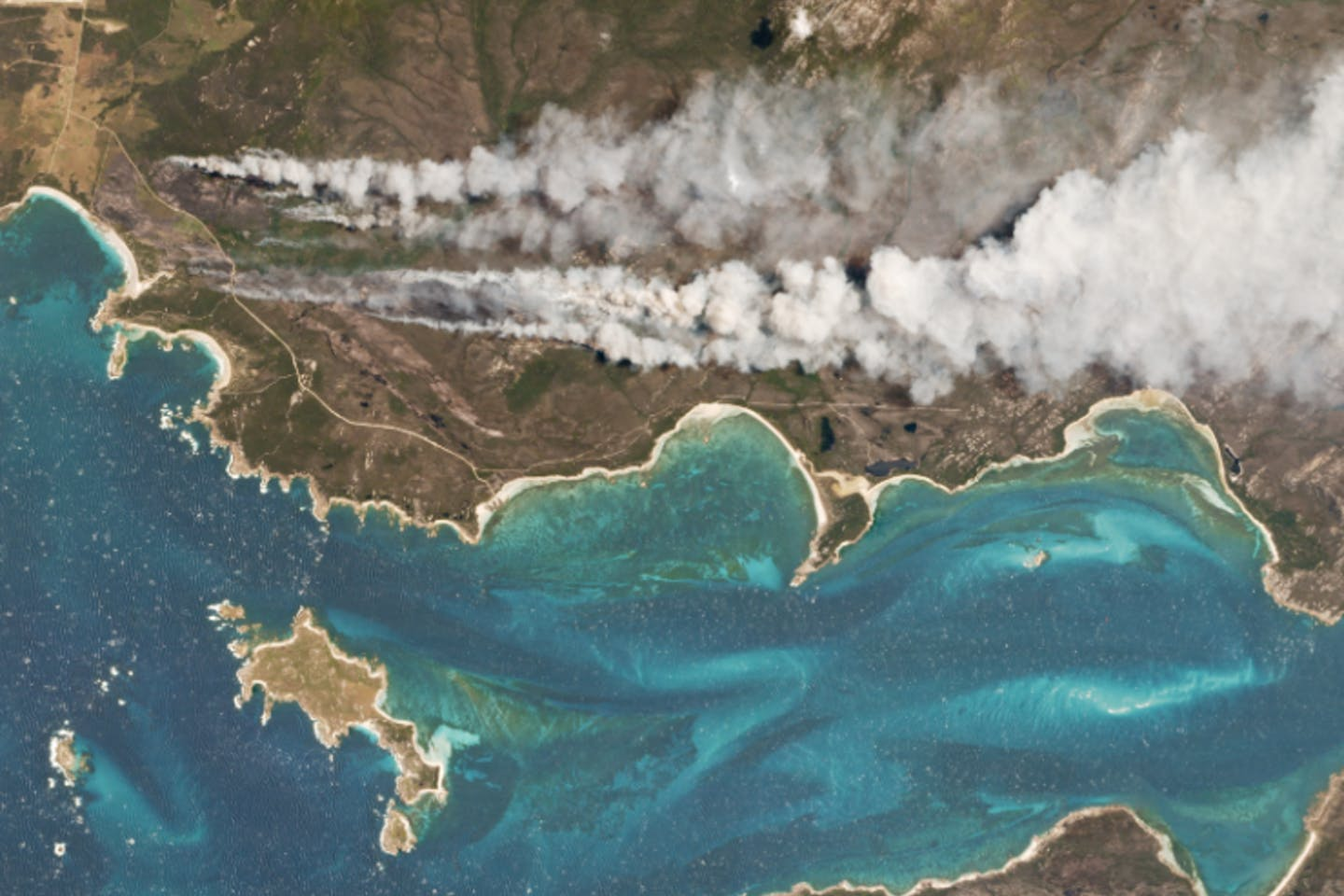 On Cape Barren Island, Australia, a vegetation fire started along the coast.