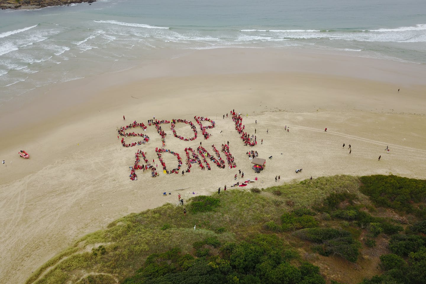 A drone image from the Stop Adani campaign at Coffs Harbour, New South Wales, Australia.