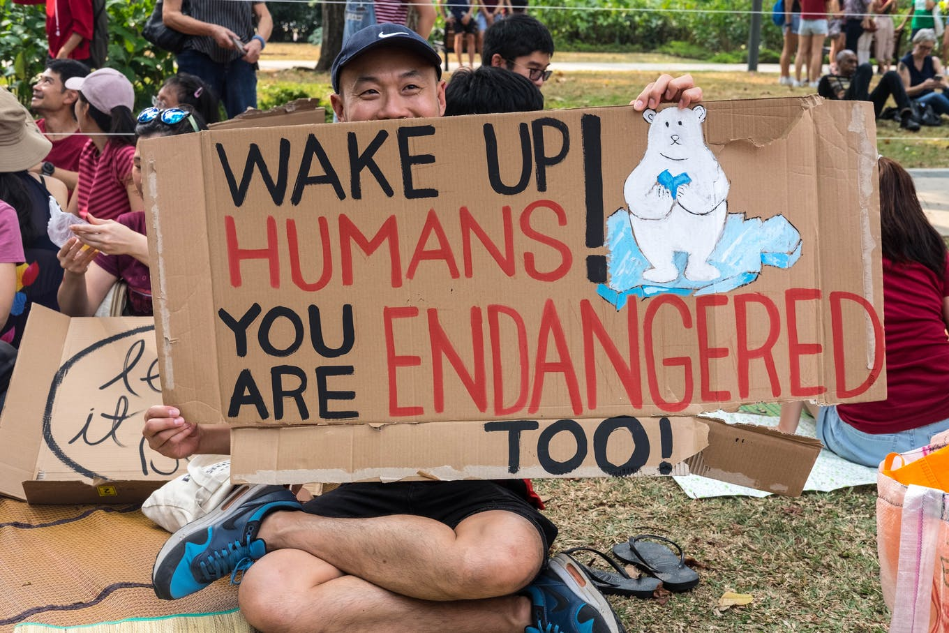 """Wake up humans"" rallier at SG Climate Rally"