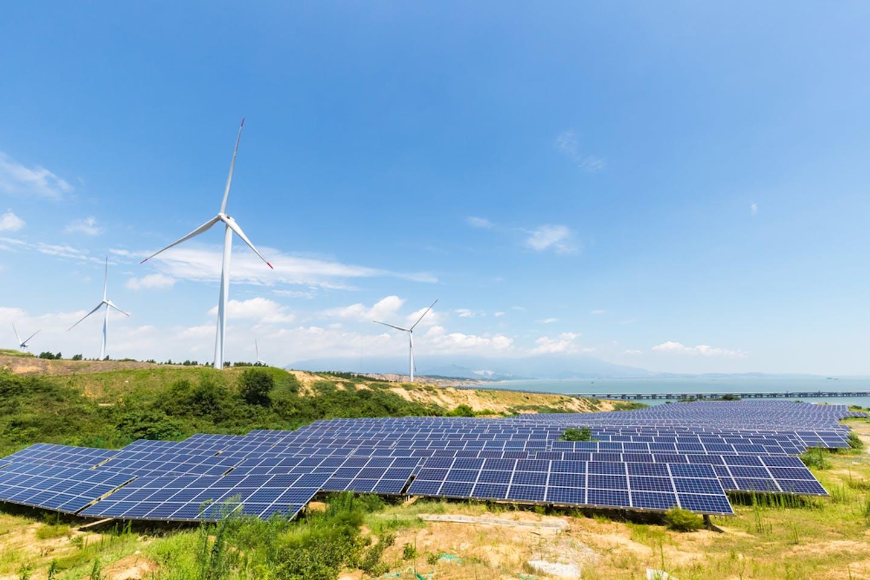 Solar power station and wind farm inPoyang Lake Jiangxi Province, China