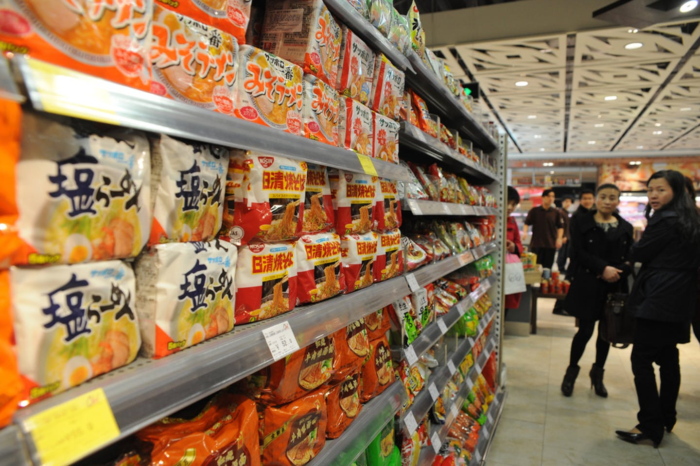 Instant noodles on sale at a supermarket in Shanghai, China