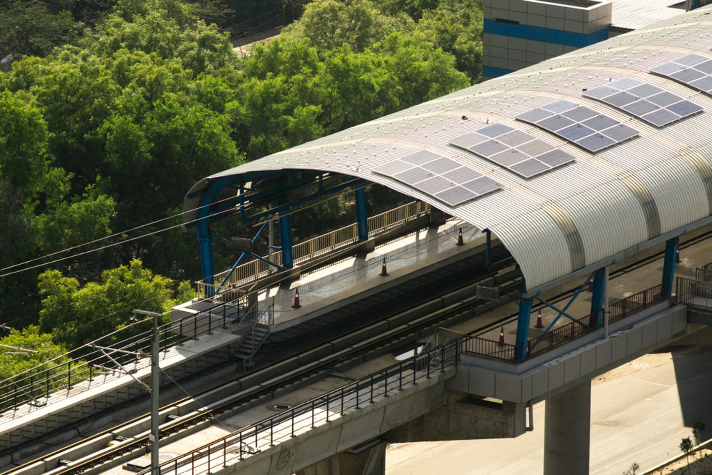 metro station with solar panels installed in New Delhi, India