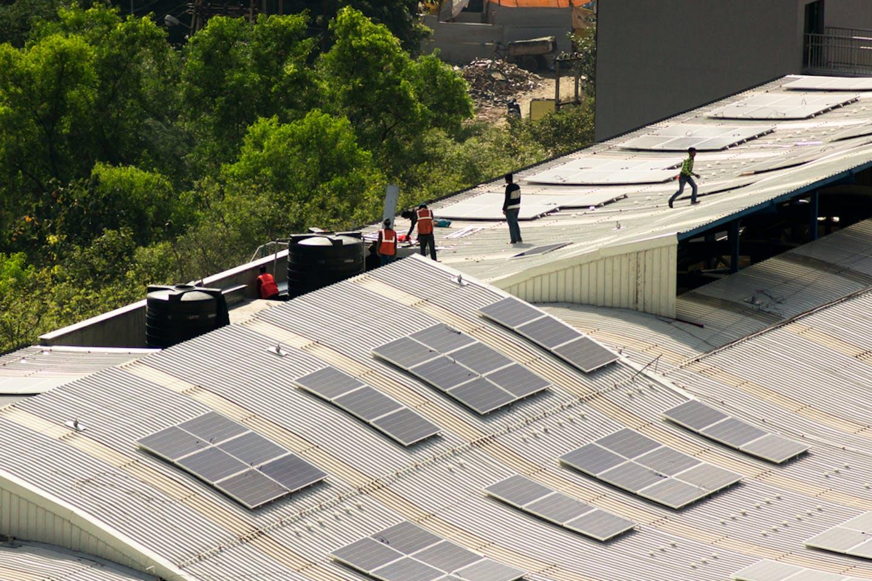 Solar panels metro station Delhi India