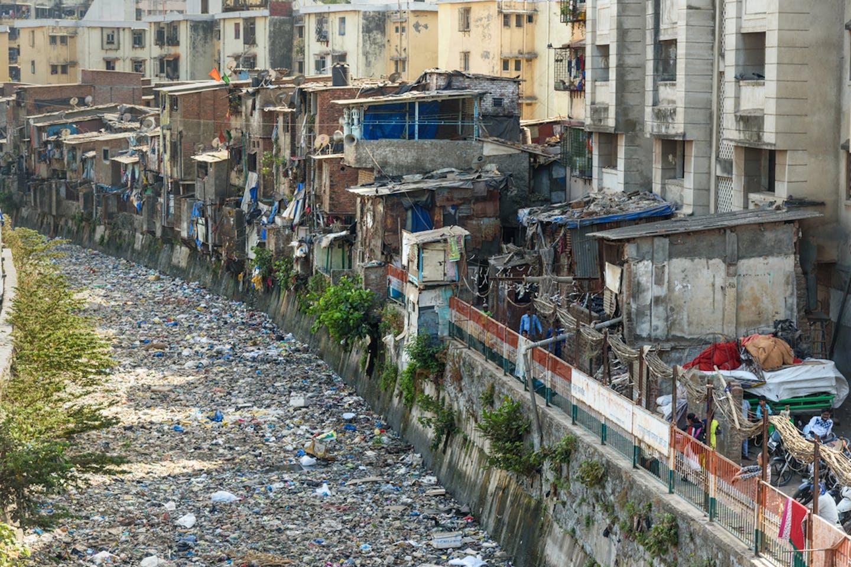 Dharavi slum area in Mumbai, India.