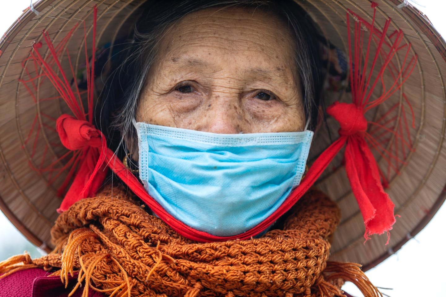 poor old woman face mask