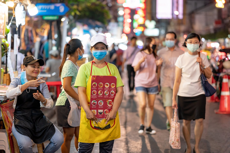 Yaowarat Road in Chinatown in Bangkok, Thailand