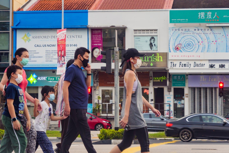 Singaporean residents in face masks