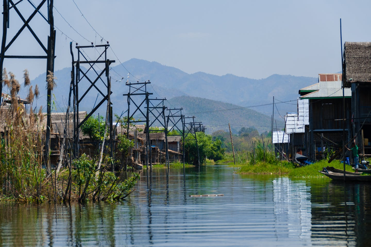 Village with electricity at Inle Lake Burma, Myanmar