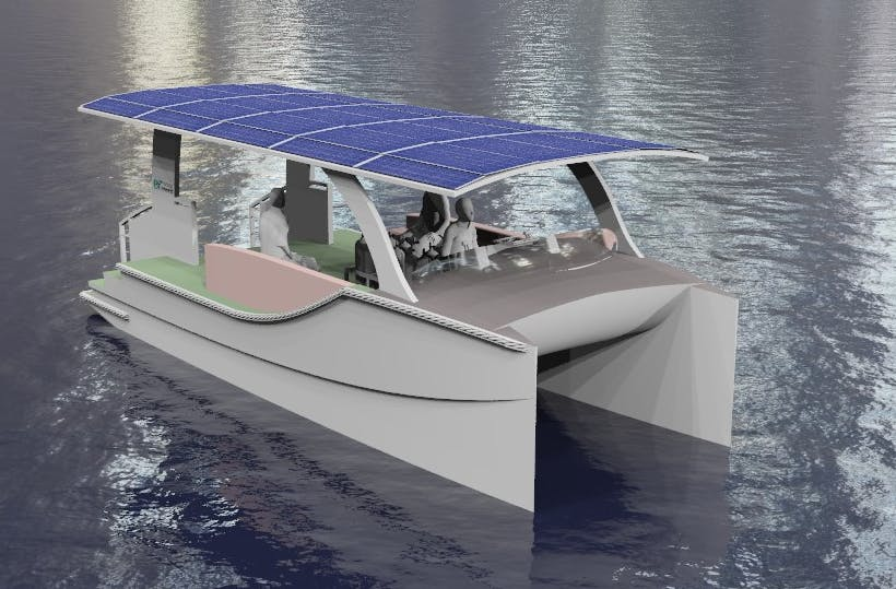 The prototype of Energy Renewed's e-catamaran