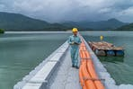 worker floating solar energy project