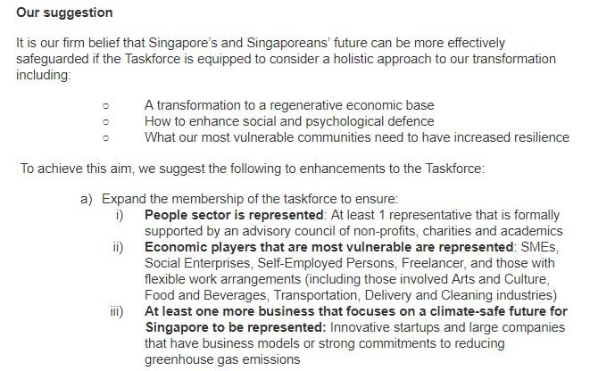 Emerging Stronger Taskforce open letter extract