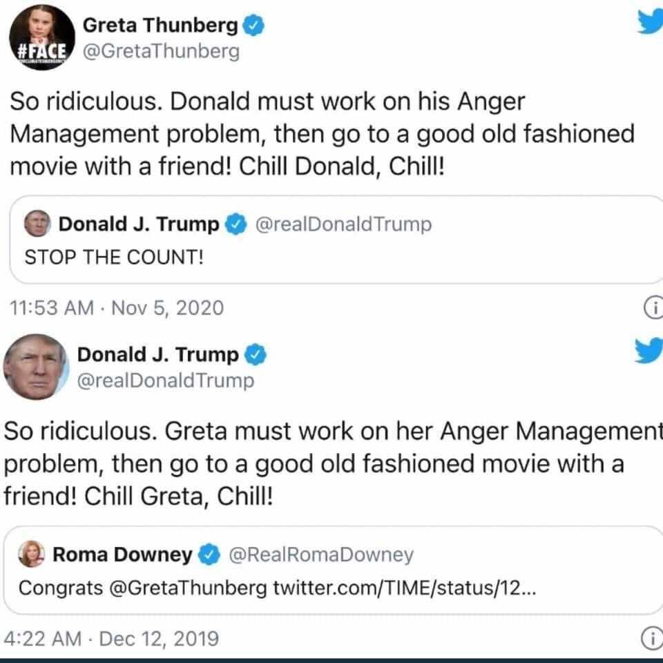 Greta and Trump on Twitter