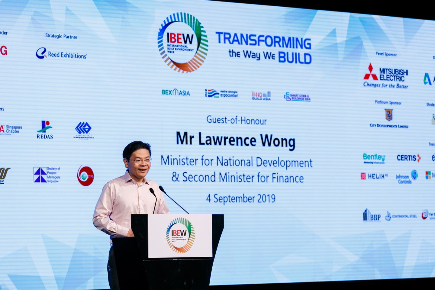 Minister for National Development, Lawrence Wong, opens the inaugural International Built Environment Week in Singapore in September 2019.