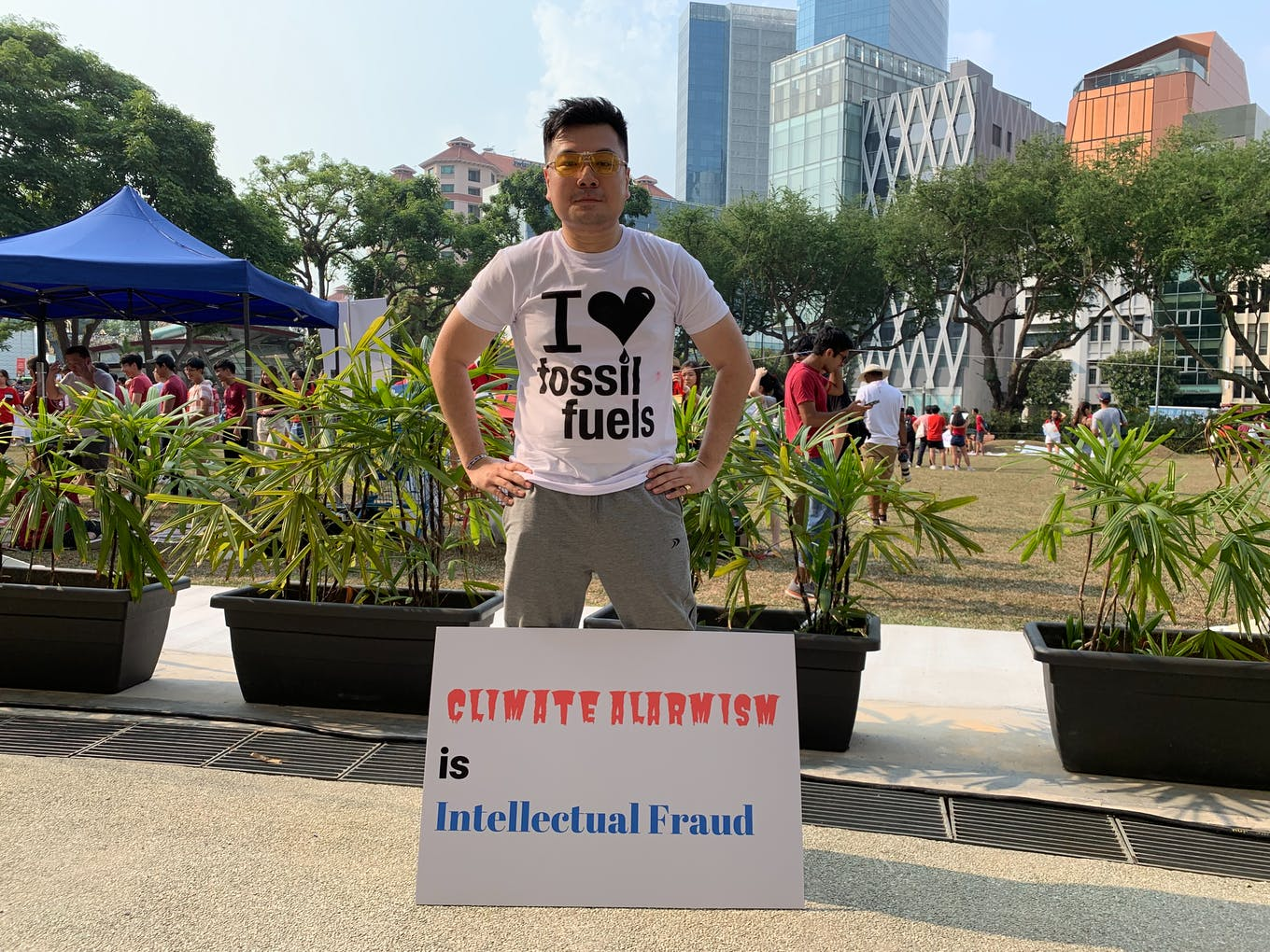 33 year-old pro-fossil fuels campaigner Henry Chew at SG Climate Rally